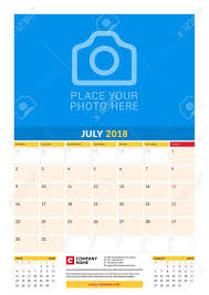 Vector Monthly Calendar Planner Template For 2018 Year July