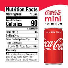 Coca Cola Nutrition Chart Coca Cola Mini 7 5 Fl Oz Can 30 Ct