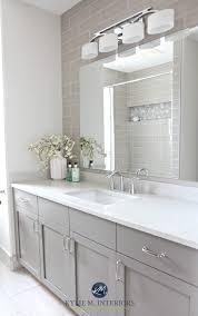 bathroom remodel gray. Bathroom Remodel, Moen Glyde Fixtures, Bianco Drift Quartz Countertop Caesarstone, Subway Tile Wall, Gray Painted Vanity By Kylie M Interiors Remodel D