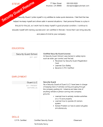 Security Resume Sample Simple Security Guard Resume Sample