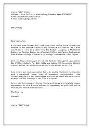 Cover Letter For Job Application Freshers Doc Adriangatton Com