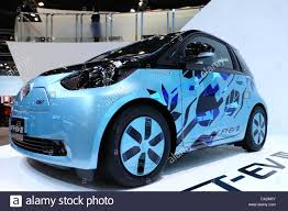 An electric car from Toyota Motor Corporation is on display at ...