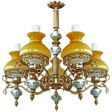 antique french victorian limoges porcelain bronze yellow glass shades chandelier for