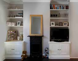 fitted alcove cupboards floating shelves