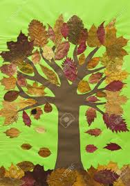 Cool Leaf Collage By Autumn Collage Tree With Falling Leaves On Green  Background Children Stock Photo
