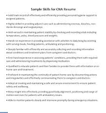 Cna Resume Skills Gorgeous Skills For CNA Resume CLR
