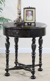 ultimate accents 23414lt astoria 30 inch round end table distressed black with faint gold highlights