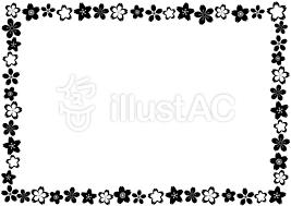 白黒の桜花びらフレーム枠 かわいい和風柄イラスト No 1345824無料