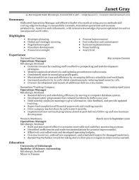 Manager Resume Sample Resumes Operations Management Classic Amazing