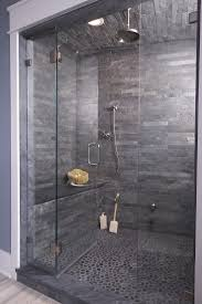modern shower area with contemporary design and nice mosaic floor tiles