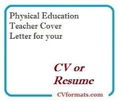 Physical Education Teacher Cover Letter For Your Cv Or