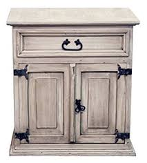 rustic white nightstand. Amazoncom Rustic White Washed Mansion Nightstand Western Real Wood Bedside Table Kitchen Dining Inside