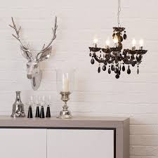 chandelier ceiling 5 light marie therese black crystal effect pendant litecraft