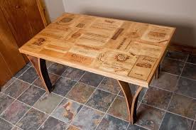 wine crate furniture. custom made wine crate table with stave legs furniture i