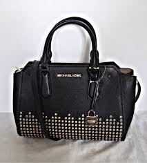 michael kors hayes medium messenger black leather satchel cross