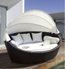 circular furniture. Basma By LuxuryGarden Garden Round Rattan Wicker Day Bed Patio Lounger Furniture Set Canopy, Circular O
