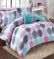 bed sets for teens purple. Perfect Bed Amazoncom Girls Teen Kids Modern Bedding Set Aqua Pink Purple Dots  Reversible Comforter With Shams And Striped Accent Pillow Includes Bonus Sleep Mask  Intended Bed Sets For Teens I