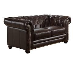 17 stories brittany top grain leather chesterfield loveseat reviews wayfair