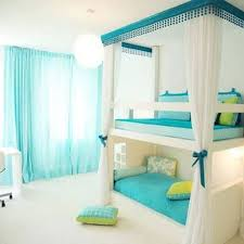 bedroom design for teenagers with bunk beds. Soft Blue Sheer Curtain With Amazing Bunk Beds For Stylish Teenage Girl Bedroom Decor Design Teenagers