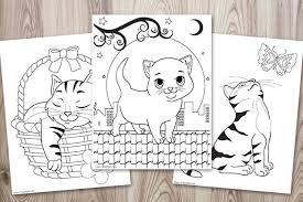 Click on any picture of cats above to start coloring. Super Cute Cat Coloring Pages Easy No Prep Kids Activity The Artisan Life