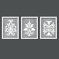 gray wall art damask bedroom design canvas or prints bathroom artwork french country style home decor gray wall art