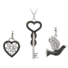 details about black diamond accent heart key and bird necklace 3 pc set