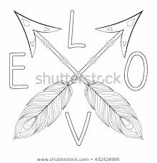 Bohemian Arrows Signs Love Hope With Feathers For Adult Coloring