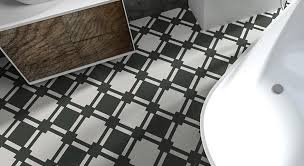 black and white designer bathroom vinyl flooring