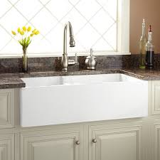 White Apron Kitchen Sink 36 Risinger 60 40 Offset Bowl Fireclay Farmhouse Sink Smooth