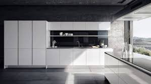 kitchen from the siematic pure style collection in glossy lotus white with countertop appearing 1 cm