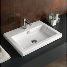 bathroom sink tecla can01011 rectangular white ceramic drop in or wall mounted sink
