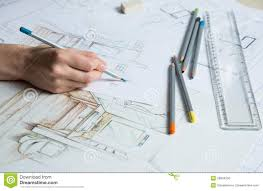 interior design hand drawings. Interior Designer Works On A Hand Drawing Sketch Using Color Pencils, Rule And Rubber Design Drawings W