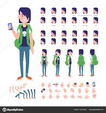 サイド 背面アニメーション文字 男性学生のキャラクター作成がさまざまな
