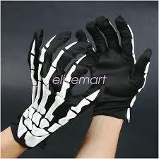 Unisex <b>Halloween Cosplay Skull</b> Skeleton <b>Bone</b> Gloves Full Finger ...