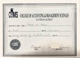 Certificate Of Merit Student Council Member
