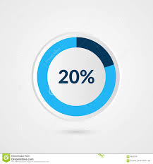 Pie Chart 20 20 Percent Blue Grey And White Pie Chart Percentage Vector