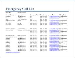 emergency contact template ms excel emergency call list template word excel templates