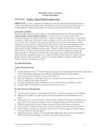 Preschool Teacher Assistant Job Description Resume Free Resume