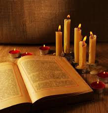 open old book and burning candles stock image image of book still