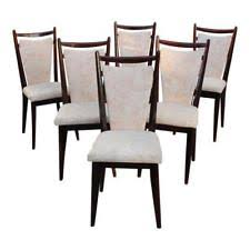 beautiful set of 6 french art deco gany dining chairs circa 1940s as is
