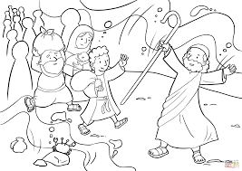 Moses Coloring Pages Red Sea Crossing Printable Coloring Page For Kids