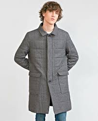 zara grey wool blend long quilted flannel coat gents authentic large l 5418 305