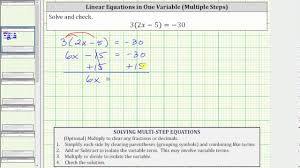 solve a linear equation with paheses 3 2x 5 30