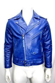 m mens fashion classic biker sport motorcycle royal blue leather jacket