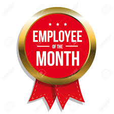 employee of month employee of the month label or stamp with red ribbon