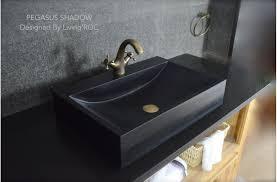 24 black granite stone bathroom sink faucet hole pegasus shadow