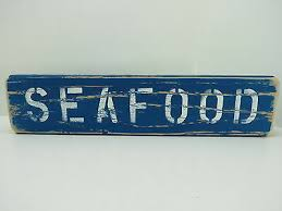 15 inch wood hand painted seafood sign nautical maritime s686