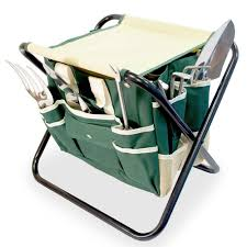 gardenhome all in one folding stool with tool bag 5 tools