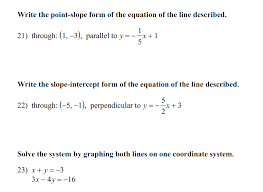 write the point slope form of the