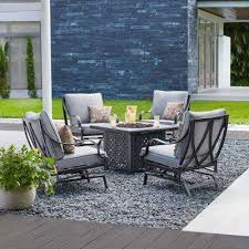 highland point 5 piece aluminum and steel patio fire pit conversation set with gray cushions